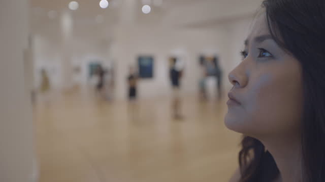 woman in art gallery video