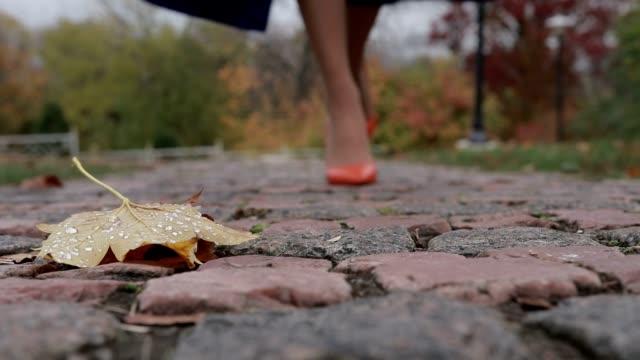 Woman in high heels walking on street in autumn video