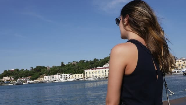 woman in ischia island, italy - procida video stock e b–roll