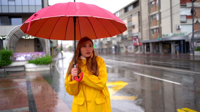 Woman in rainy and cold day at the city.