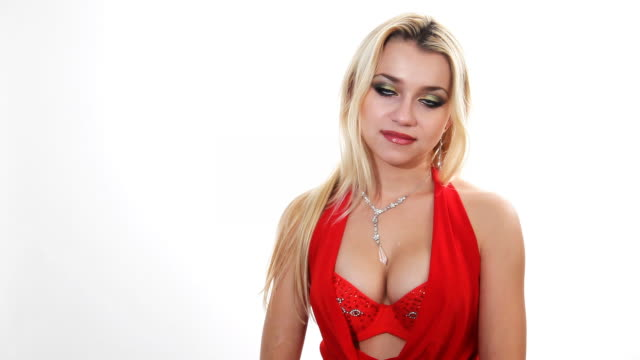 woman in red posing at camera - cleavage stock videos & royalty-free footage