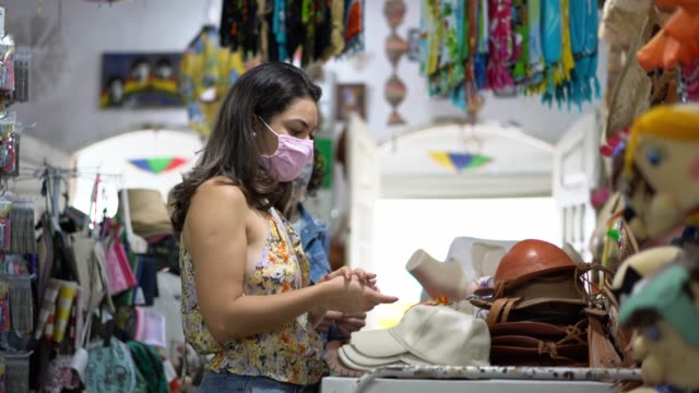 Woman in trade store in pandemic Craft Store, Pandemia, New Normal, Buying, Tourist small business saturday stock videos & royalty-free footage