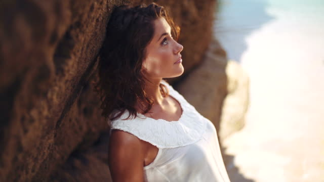 woman in white dress - beach fashion stock videos and b-roll footage
