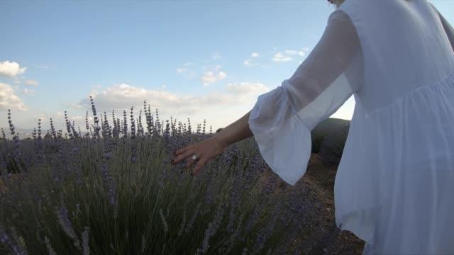 Woman in white dress walking in field of lavender