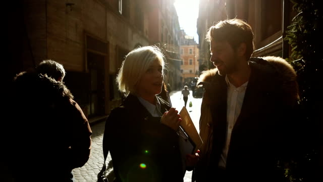 Woman interview business man in Rome video
