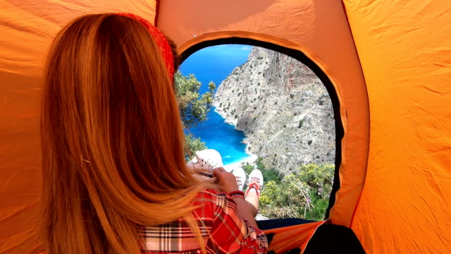 woman is camping. - fethiye video stock e b–roll
