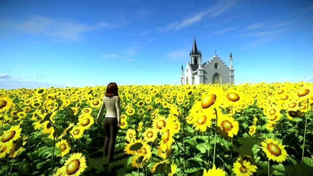 A woman is in front of a church in a sunflower field, Sunflowers field in the summer day