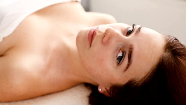 Woman is waiting for skin care treatment video