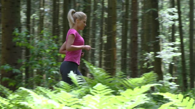 woman jogging in the forest video