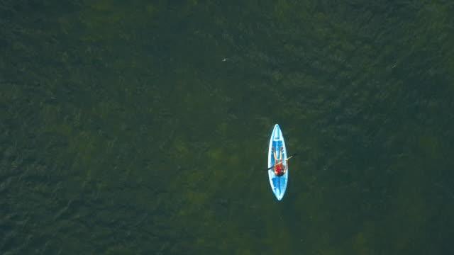 Femme kayak dans une plage tropicale dans les Caraïbes - île de Grand Cayman - vue aérienne - Vidéo