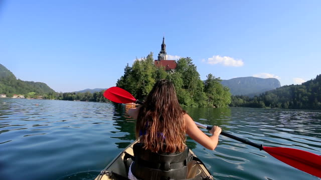 Woman Kayaking in the Lake video