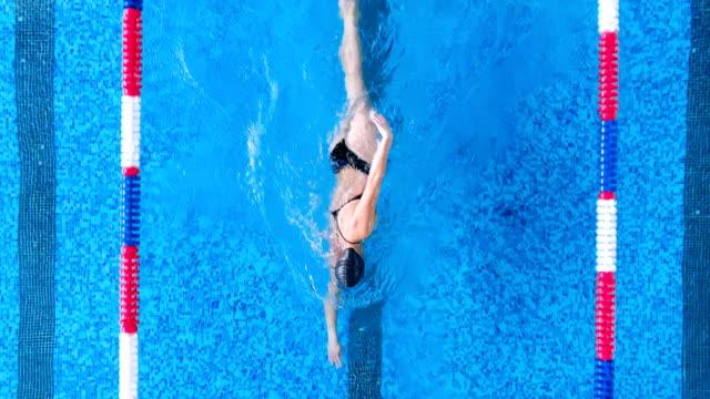 女性は練習中にプールの車線の中央に保持します。 - 水泳点の映像素材/bロール