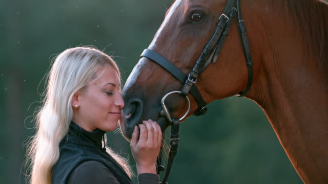 SLO MO Woman kissing her horse on the nose