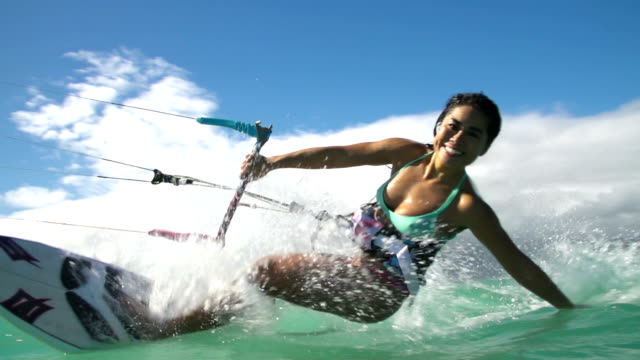 Woman Kitesurfing In Ocean, Extreme Summer Sport video