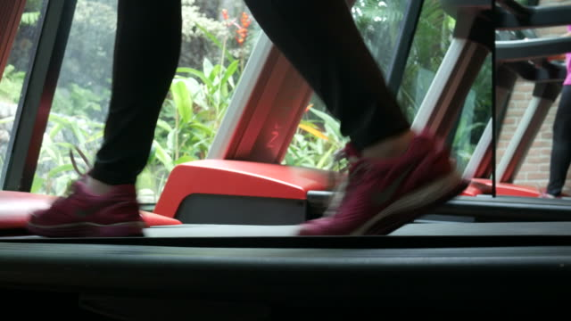 woman leg Running on Treadmill video