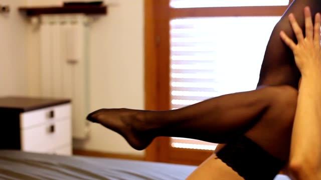 woman legs in stockings - strumpbyxor bildbanksvideor och videomaterial från bakom kulisserna