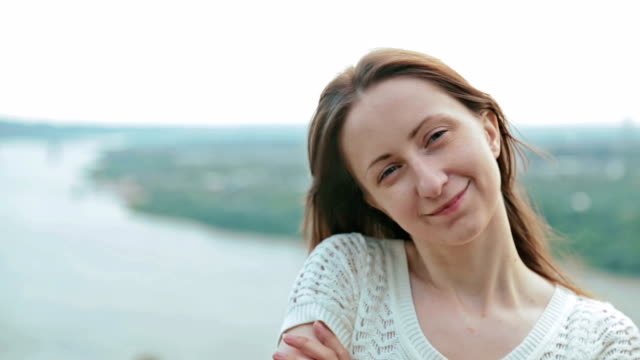 Woman looking at camera and making funny face video