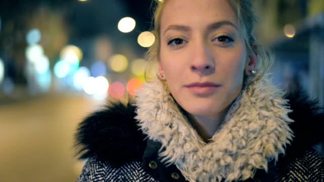Woman looking at camera. video