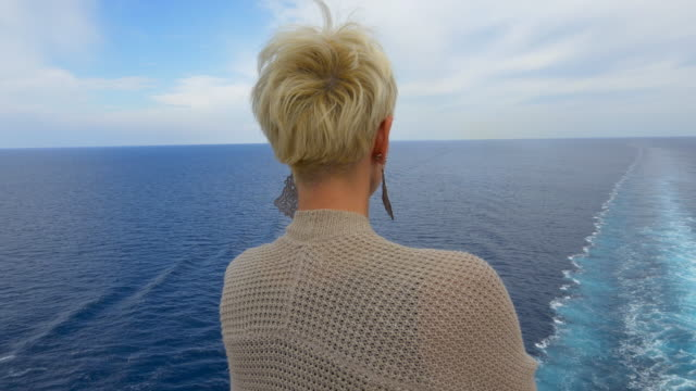 MS Woman looking at the ship's wake video