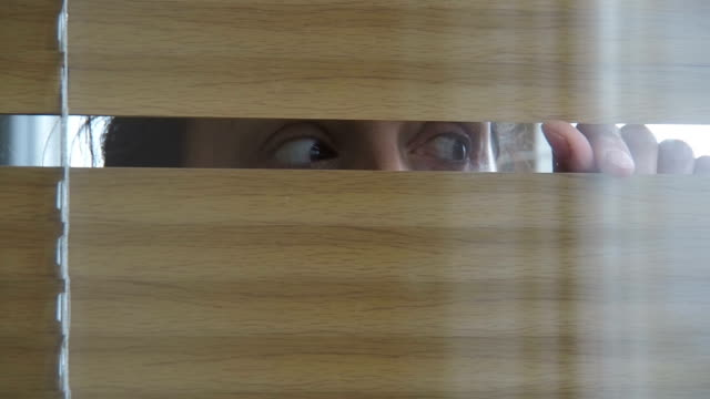 woman looking through the blinds. - store filmów i materiałów b-roll
