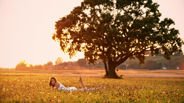 DS Woman lying in grass at sunset video