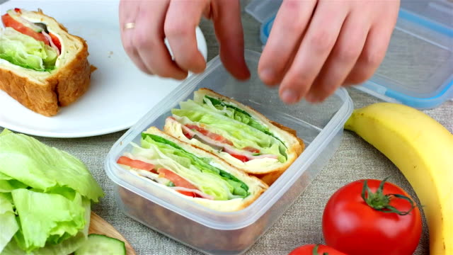 Woman made sandwiches and putting them into the lunch box video