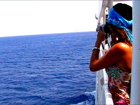 woman making pictures from a ship - passenger craft stock videos & royalty-free footage