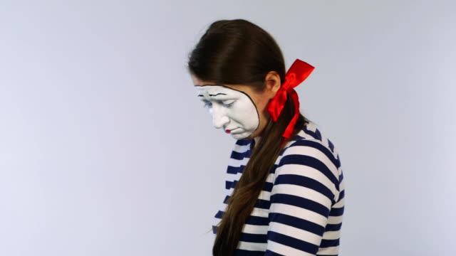 Woman mime pity looking at the camera: begging video
