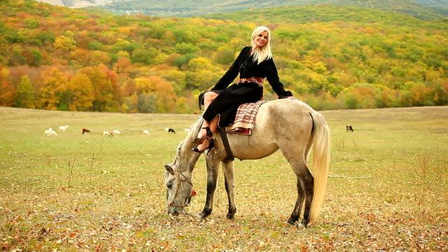 frau auf einem pferd - hengst stock-videos und b-roll-filmmaterial