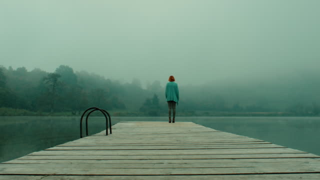 woman on pier at lake - molo video stock e b–roll