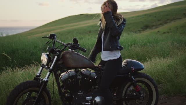 Woman on Vintage Motorcycle video