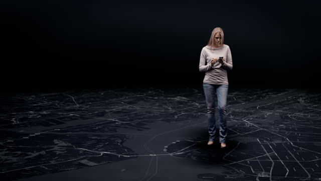 Woman  on virtual map video