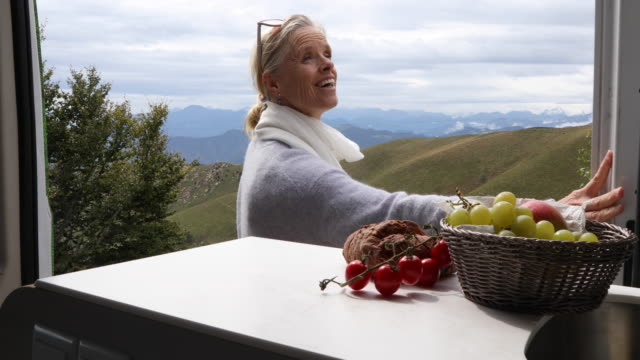 Woman opens door of campervan, steps into meadow She looks off to distant scene; mountains in background, fruit bowl and bread in foreground rv interior stock videos & royalty-free footage