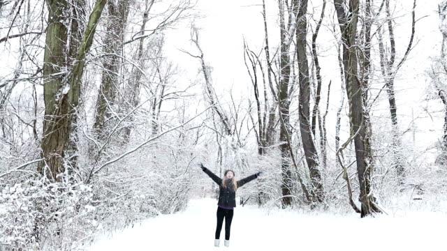 Woman Outdoors Enjoying Snow video