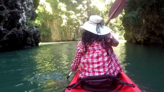 Woman Paddling On Kayak In Beautiful Lagoon Action Camera POV Girl Kayaking Back Rear View video