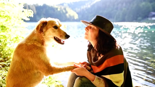 woman playing with her dog at the lake video