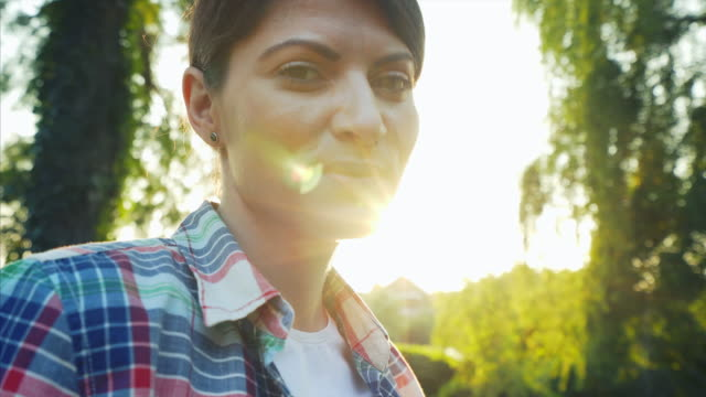 Woman portrait at sunset. video