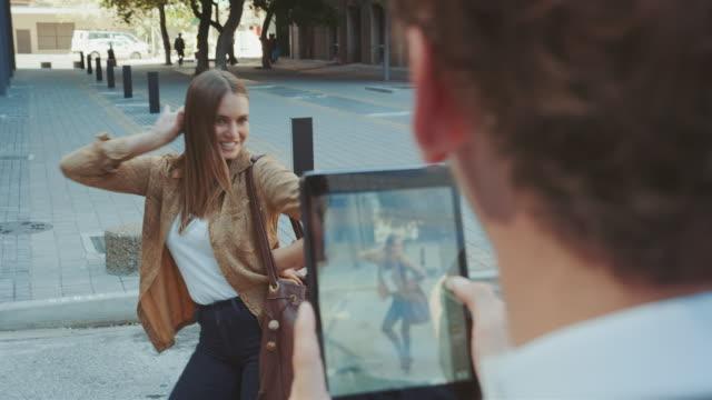 Woman posing in urban location video