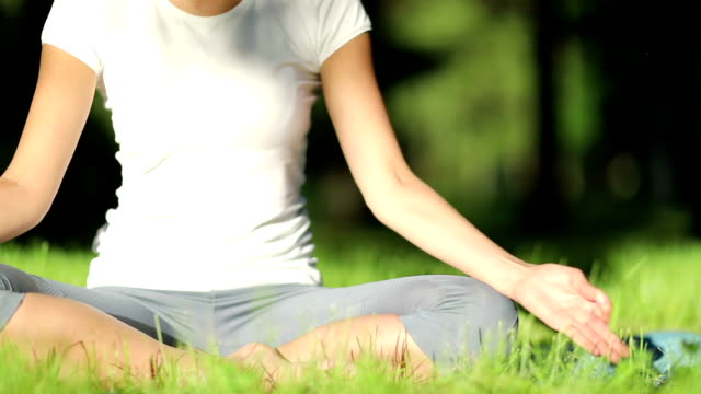 Woman practices yoga in the park video