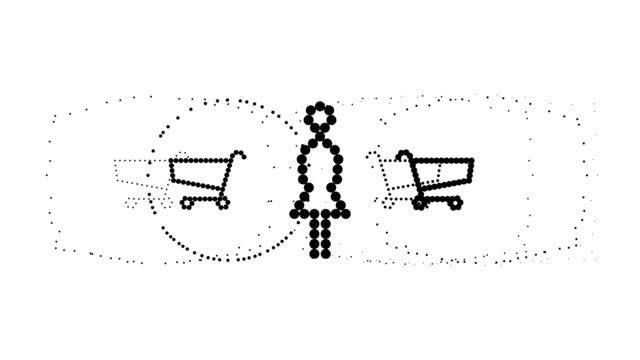 shopping einkaufswagen-frau, die pure schwarzen punkten (endlosschleife) - viele gegenstände stock-videos und b-roll-filmmaterial