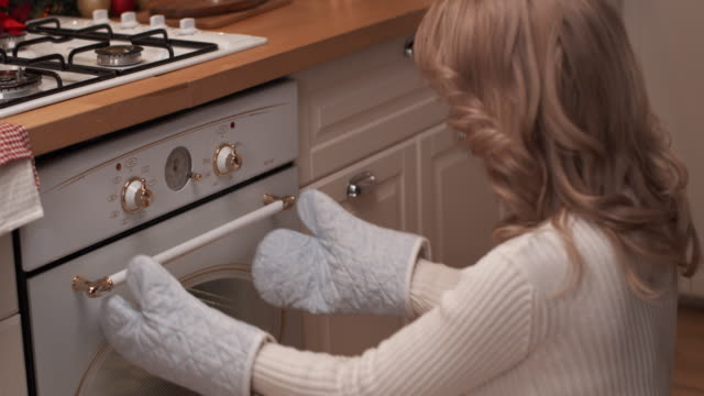 woman putting christmas cookies in the oven - treedeo stock videos & royalty-free footage