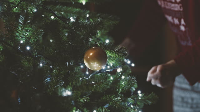 ms woman putting string lights on christmas tree - wisieć filmów i materiałów b-roll