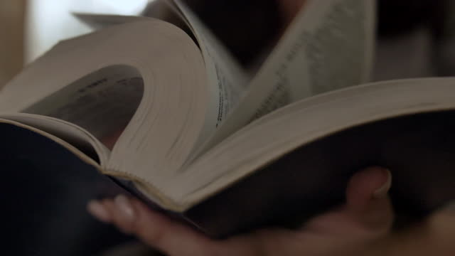 woman reads a book turns over the pages, bible, close up video