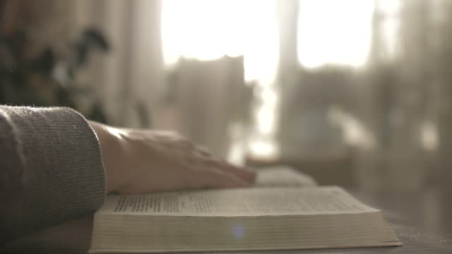 woman reads a book turns over the pages, bible, copy space video