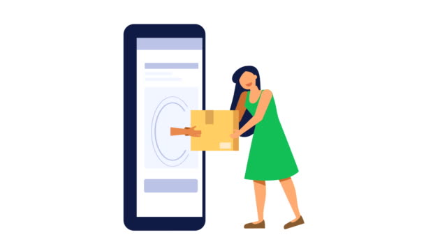 kvinnan får paket från telefonen - platt bildbanksvideor och videomaterial från bakom kulisserna