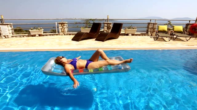 Woman Relaxing In The Swimming Pool video