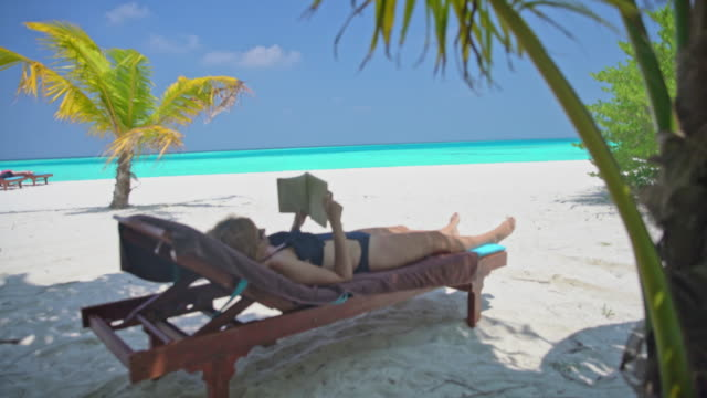 MS Woman relaxing,reading book on lounge chair on idyllic,tropical ocean beach,Maldives