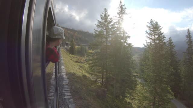 donna va in treno lungo i binari di montagna, guarda fuori per vedere - berretto video stock e b–roll