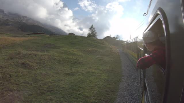 Frau reitet auf dem Zug entlang Mountain Track, sieht aus anzeigen – Video