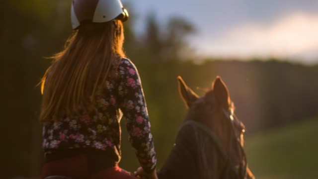 Woman riding a horse on a meadow, going of into sunset video